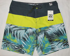 New Mens Billabong TriBong X Fronds Yellow Gray Boardshorts Swim Shorts Size 32