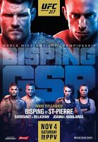 """UFC 217 Poster Bisping vs. St-Pierre Fighting Card MMA Print 13x20"""" 24x36"""" 32x48"""
