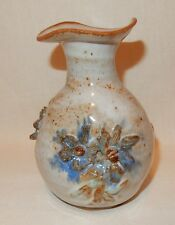 Stoneware Handthrown Canada 1975 Blue White Pinch Pot Vase Flower Signed