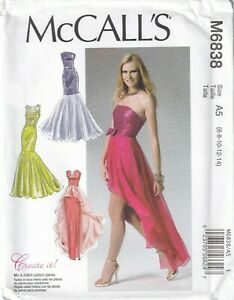 McCalls Sewing Pattern 6838, Dresses, Evening Prom Bridesmaid Size 6-14-22 New