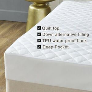 WATERPROOF QUILTED MATTRESS PROTECTOR SINGLE SMALL DOUBLE SUPER KING SIZE BED