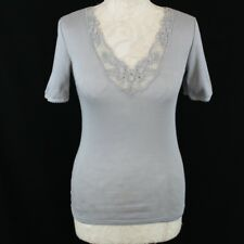 Ladies Top Small Damart Taupe Chlorofibre Silk Short Sleeve Lace Trim Low Cut