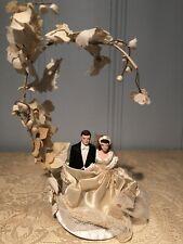 Vintage Bride & Groom Porcelain Bisque Wedding Cake Topper