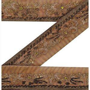 "Sanskriti Vintage Brown Sari Border Hand Beaded  Trims 2""W Craft Decor Lace"