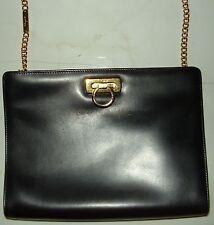 Authentic SALVATORE FERRAGAMO Black Leather Gold Chain Shoulder Handbag Purse