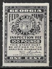 GEORGIA State Feed Inspection Tax Stamp - 1 Cent, 100 pounds, MVLH OG