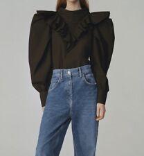 ZARA BNWT Black Ruffled Puff Sleeve Blouse TRF Organic Cotton JOIN LIFE LARGE