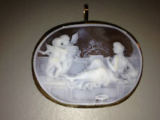 """Venus' Garden of Love"" Shell Cameo Pendant set in 14K Antique Yellow Gold"