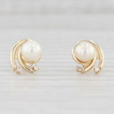 Cultured Pearl Diamond Swirl Earrings 14k Yellow Gold Pierced Studs