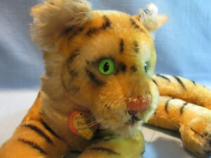 """LARGER VINTAGE RECLINING STEIFF TIGER CUB, PAPER TAG, GLASS EYES 14"""" X 6"""" MOHAIR"""