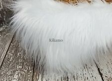 "20""x 20"" Long Hair White Faux Fur Fabric Craft Costume Newborn Prop"