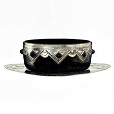 c1930s black amethyst Deco glass bowl w/ pewter and cabochon mounts, plus tablet