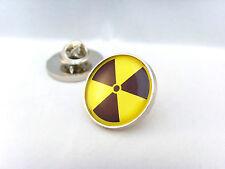 RADIOACTIVE RADIATION SYMBOL HAZARD WARNING NUCLEAR BIO ATOM LAPEL PIN BADGE