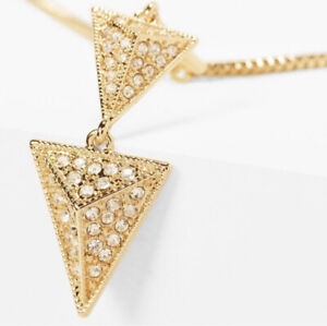 WHBM Nwt Gold Toned Pace Triple Triangle Necklace