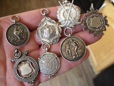 SEVEN VINTAGE & ANTIQUE STERLING SILVER POCKET WATCH CHAIN FOBS, MEDALS.