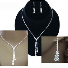 Wedding Bridal Jewelry Set Silver Plated Crystal Drop Necklace Earrings