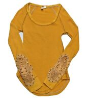We The Free Free People Crochet Cuff Thermal Long Sleeve Top Mustard Womens XS