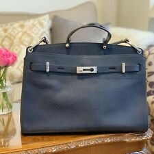 Large French Connection Navy Leather Bag / Handbag, Detachable Strap, RRP £245