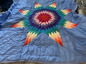 Vtg Large Handmade Lone Star Quilt Blanket Cover Double Polyester Rainbow 92x107