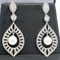 Vintage Round Akoya Pearls Earrings Wedding Jewelry Gift 14K White Gold Plated