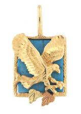 "Elegant Fine Gold Turquoise Eagle Pendant 10k Yellow & Rose Gold 1"" Inch"