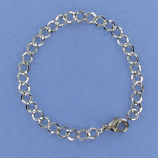 """Link Charm Bracelet - Pewter with Lobster Clasp Curb Chain 7-7/8"""" Long NEW"""