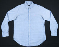 Ralph Lauren Polo Blue White Gingham Check Pink Polo Pony Long Sleeve Shirt L