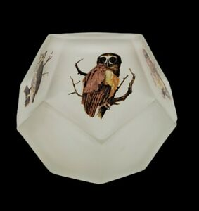 Vintage Westmoreland Frosted Glass Owl Fairy Tea Light Ten Sided Cubic 4 x 4 In