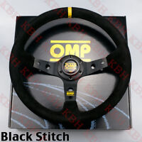 "350mm Corsica Deep Dished Suede Leather Steering Wheel OMP 14"" Black Stitch"
