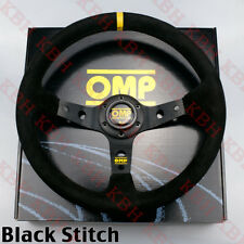 """350mm Corsica Deep Dished Suede Leather Steering Wheel OMP 14"""" Black Stitch"""
