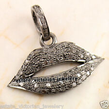 Victorian Estate 0.92ct Pave Rose Cut Diamond Jewelry Sterling Silver Lips Charm