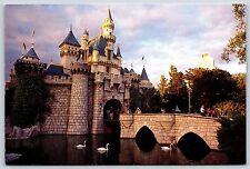 Swans in the Moat at Cinderella's Castle Walt Disneyland Continental Postcard