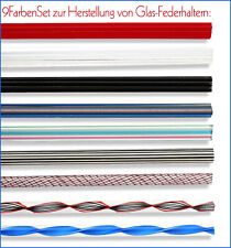 -NEU- 9 Farben-Set zur Herstellung von Federhaltern aus Glas, mit Anleitung