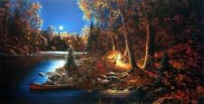 Jim Hansel ''Still of the Night'' Cabin Lake Art Pint  33'' x 17''