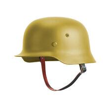 Tan WW2 German M35 Helmet Steel WH Army M1935 Stahlhelm Genuine Leather Liner