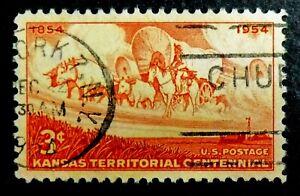 1061 used 1954 3c Kansas Wheat Field Wagon Train Pioneers Fort Leavenworth State