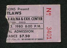 Original 1980 Outlaws concert ticket stub Dayton Hara Arena Ghost Riders