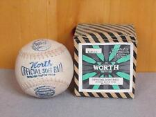 "Vintage Worth early Cowhide Kapok Center Softball 12"" with Orig.Box New Baseball"