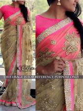 Wedding Indian Pakistani New Saree Pink Net Lehenga Saree Designer Bridal Wear