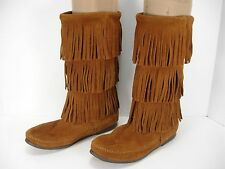 MINNETONKA MOCCASINS 1632 BROWN SUEDE 3 LAYER FRINGE CALF HIGH BOOTS WOMEN'S 8