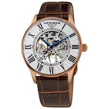 Men's Akribos XXIV AK499RG Mechanical Skeleton Diamond Dial Brown Leather Watch