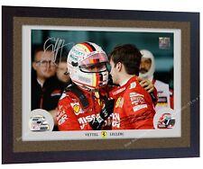 Sebastian Vettel Charles Leclerc ferrari signed autographed print photo FRAMED