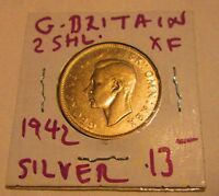 Great Britain 2 Shilling  Florin silver coins 1942  as shown