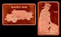 ★★ JOLI MEDAILLE PLAQUEE CUIVRE ● VEHICULE POMPIERS MACK L 1948 ★★
