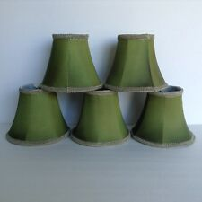 "Set of 5 Olive Green Candelabra Clip on Lamp Shades 6"" w x 4 3/4"" t Rickrack"
