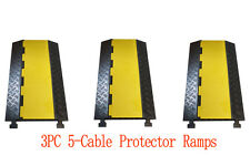 3PC 5-Cable Rubber Warehouse Vehicle Wire Covers Ramp Protector Snake Cord