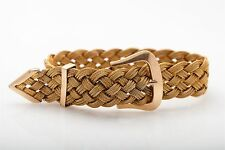 Antique 1940s $5000 RETRO 14k Yellow Gold BELT BUCKLE Weave Bracelet  RARE 8""