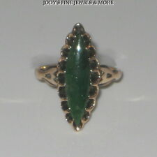 FABULOUS ESTATE 14K YELLOW GOLD MARQUISE CABOCHON GREEN AGATE LADIES RING Size 6