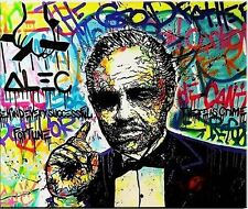 Alec Monopoly Oil Painting on Canvas Handcraft Graffiti THE GODFATHER 28x36""