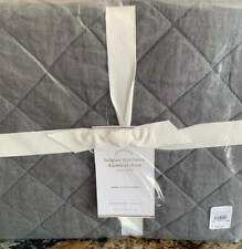 New~1~Pottery Barn Belgian Flax Linen Diamond Euro Sham~Charcoal Gray Grey